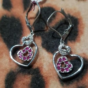 Solid 14Kt  Ruby and Diamond Leaverback earrings